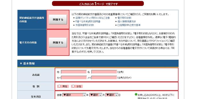 選べる外為オプションの口座開設の情報入力と本人確認